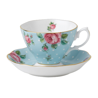 TASSE ET SOUCOUPE A THE POLKA BLUE